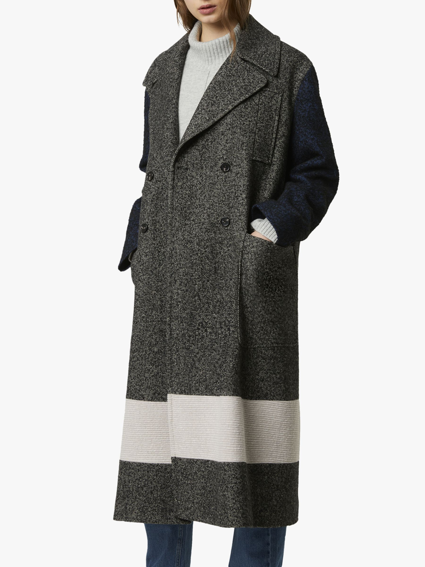 French Connection French Connection Tweed Long Peacoat, Salt/Pepper