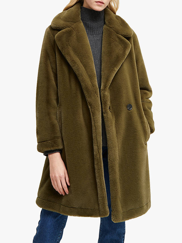 Buy French Connection Buona Faux Fur Coat, Loden Green, XS Online at johnlewis.com