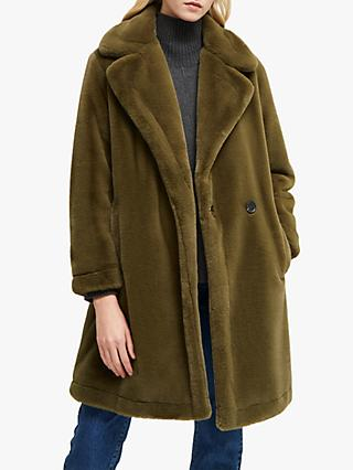 French Connection Buona Faux Fur Coat, Loden Green