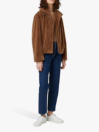 French Connection Buona Faux Fur Jacket, Mocha Mousse