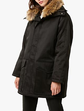 French Connection Marta Judy Fur Trim Parka, Black