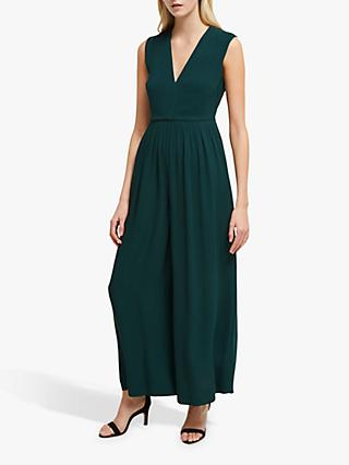 French Connection Carrabelle Crepe Pleated Jumpsuit, Bayou Green