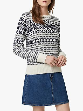 French Connection Esme Fairisle Jumper, Class Cream/Utility Blue