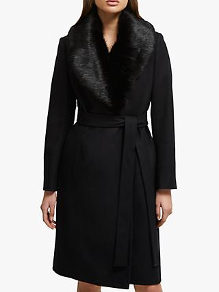 French Connection Carmelita Faux Fur Collar Long Coat, Black