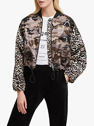French Connection Belleza Animal Camouflage Embellished Bomber Jacket, Multi