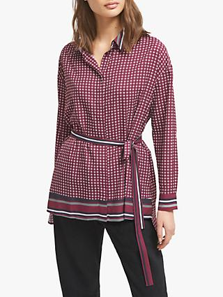 French Connection Ambra Belted Shirt, Berry Blush