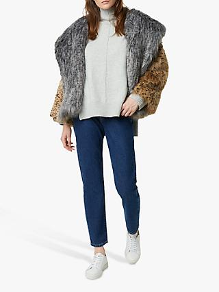 French Connection Blaire Faux Fur Hooded Coat, Multi
