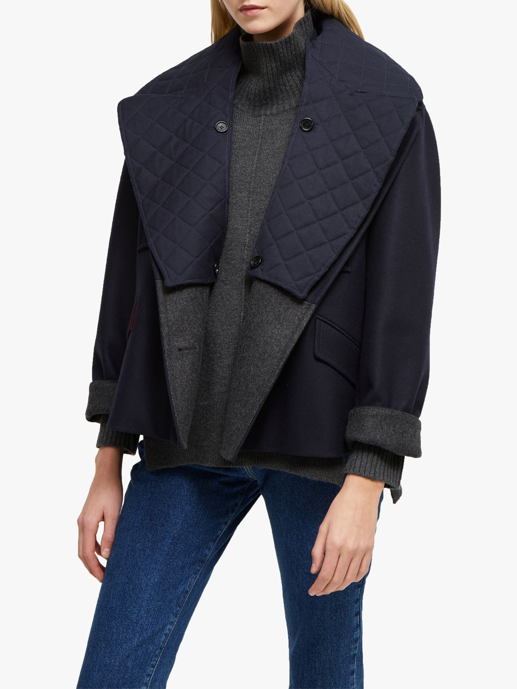 French Connection French Connection Carmelita Double Breasted Coat, Utility Blue