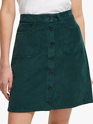 French Connection Cord Button Through Mini Skirt, Bayou Green