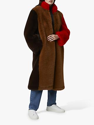 French Connection Claudie Faux Fur Colour Block Coat, Camel/Multi