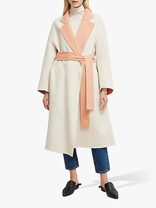 French Connection Daralice Belted Coat, Dark Vanilla Pink
