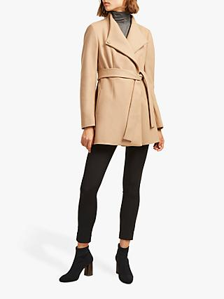 French Connection Carmelita Wool Platform Felt Wrap Coat, Camel