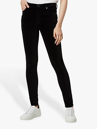 French Connection Skinny Velveteen Jeans, Black