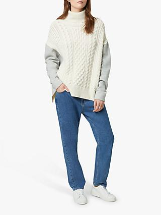 French Connection Soraya Cable Knit Roll Neck Jumper, Classic Cream/Mid Grey