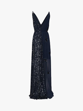 Buy French Connection Aurora Embellished V-Neck Dress, Mid Blue, 6 Online at johnlewis.com