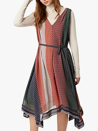 French Connection Caprice Mix Handkerchief Hem Dress, Neutral/Multi