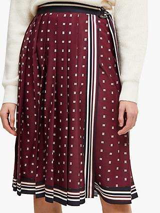 French Connection Claudina Wrap Skirt, Berry