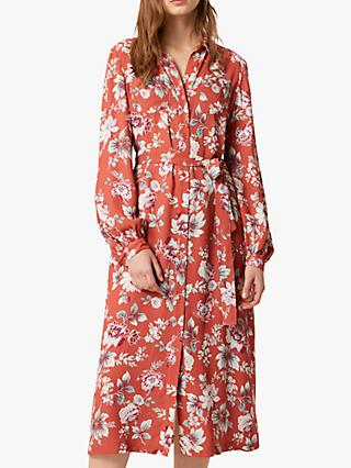 French Connection Aletta Crepe Floral  Midi Shirt Dress, Cinnamon Stick Multi