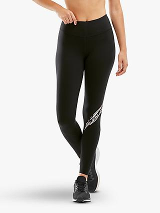 2XU Fitness Stride Compression Training Tights, Black/Diagonal Stripe