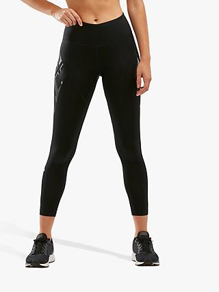 2XU Text Mid-Rise Compression Training Tights, Black/Textural Geo