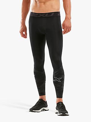 2XU Accelerate Compression Training Tights, Black/Textural Geo