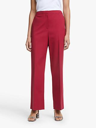 John Lewis & Partners Flat Front Trousers, Dark Red