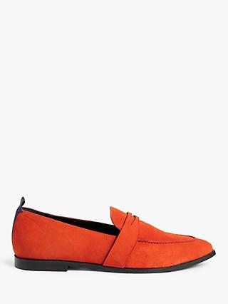 Kin Ginny Pointed Suede Loafers, Orange