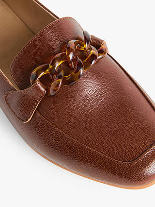 Buy John Lewis & Partners Gracious Leather Resin Trim Loafers, Brown, 6 Online at johnlewis.com