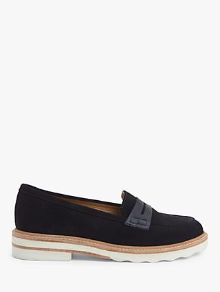 John Lewis & Partners Ginnie Suede Stitch Detail Loafers, Navy