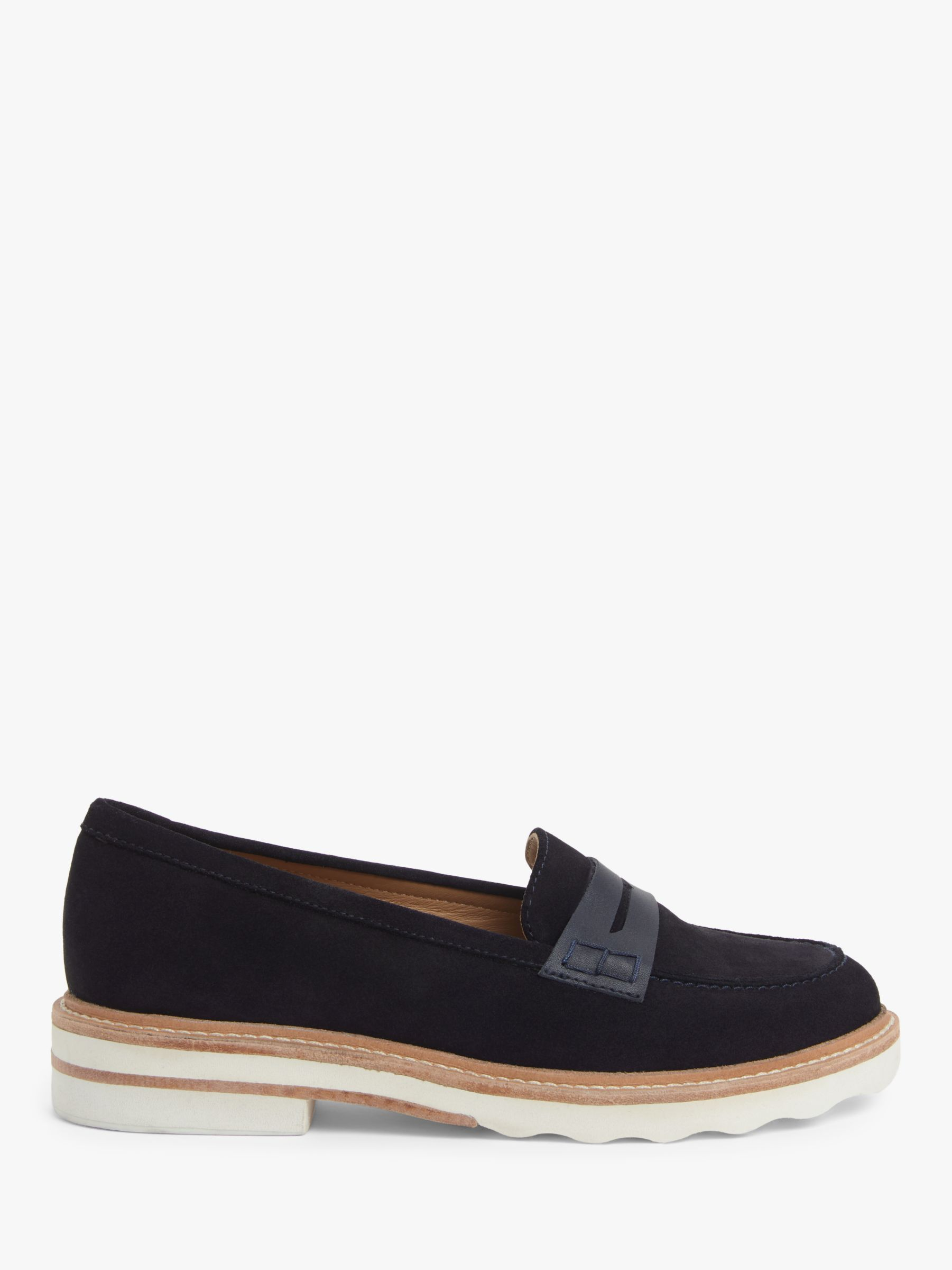 John Lewis John Lewis & Partners Ginnie Suede Stitch Detail Loafers, Navy
