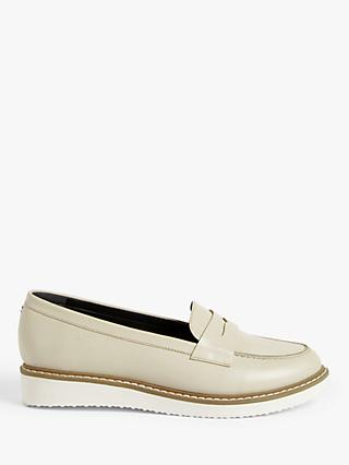 Kin Hatti Leather Flatform Loafers, White