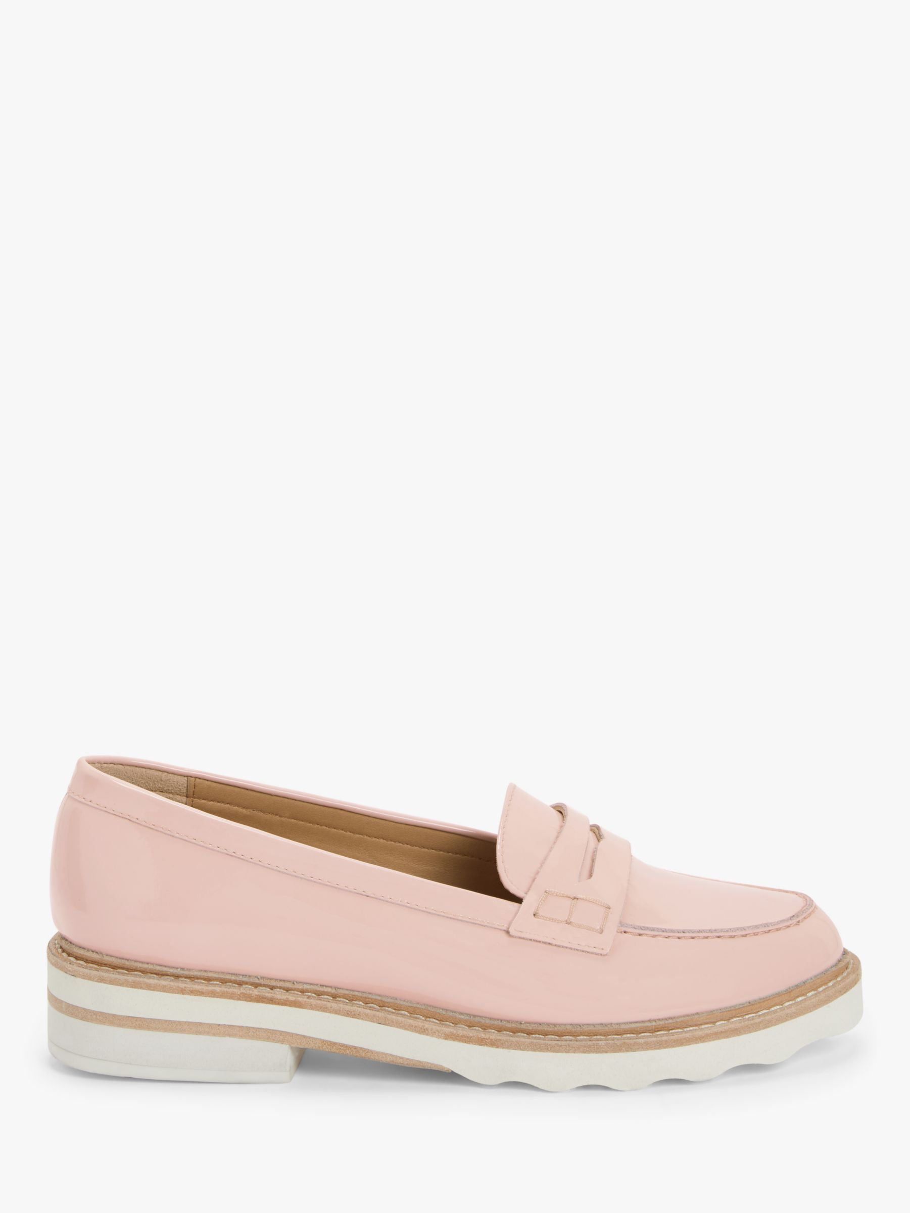 John Lewis John Lewis & Partners Ginnie Leather Stitch Detail Loafers, Blush