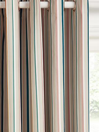 John Lewis & Partners Ombre Stripe Pair Blackout Lined Eyelet Curtains