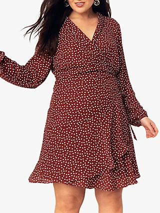 Oasis Curve Wrap Heart Dress, Burgundy