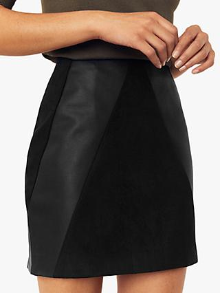 Oasis Faux Leather Patch Mini Skirt, Black