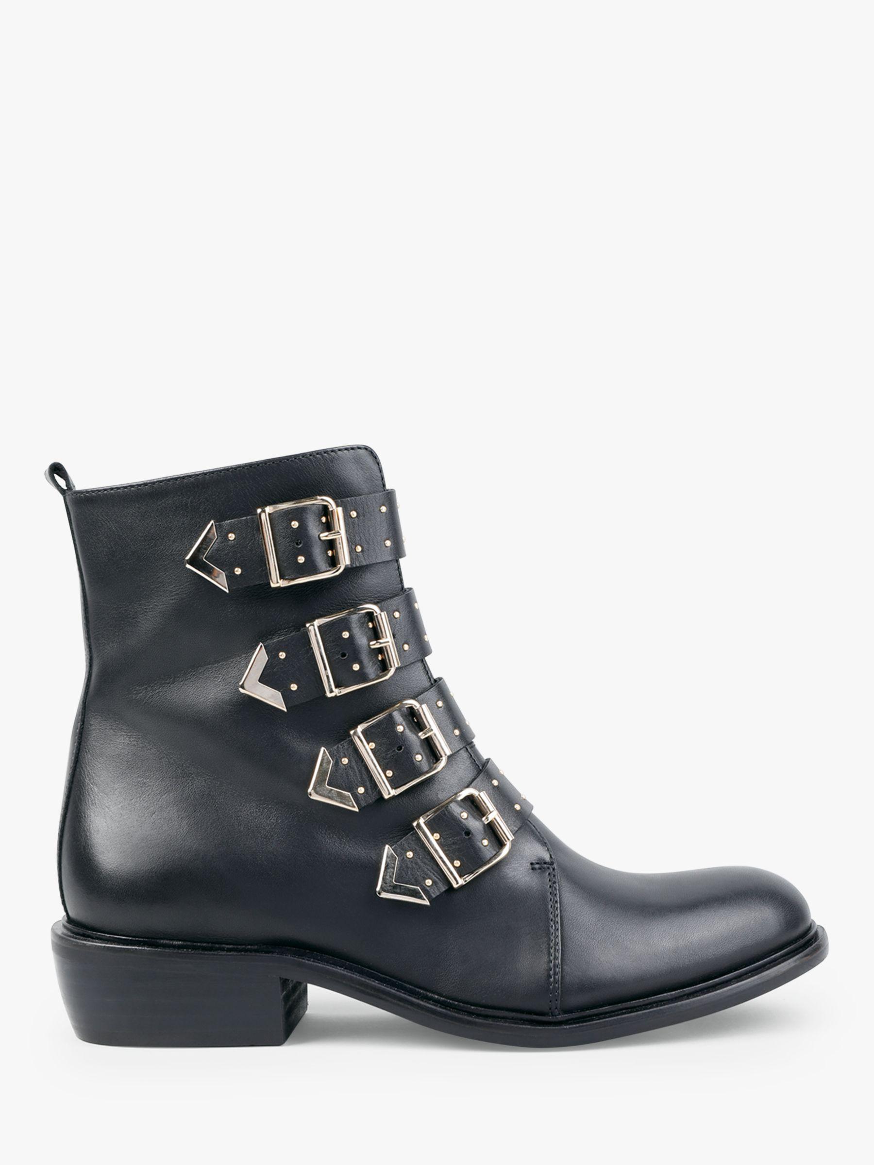 1d54e1b27e1 hush Roslin Leather Biker Ankle Boots, Black/Gold