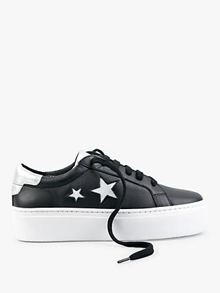 hush Malton Star Low Top Trainers, Black/White