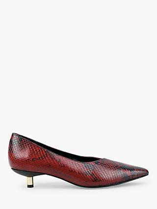 hush Peplow Leather Court Shoes, Red Snakskin