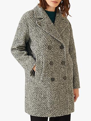 Jigsaw Boucle Oversized Pea Coat, Grey