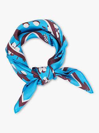 Jigsaw Blackberry Square Silk Scarf, Blue/Multi