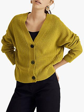 Jigsaw Wool Cotton Blend Slouchy Ribbed Cardigan, Green Moss