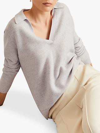 Jigsaw Wool Collared V-Neck Jumper, Pale Grey
