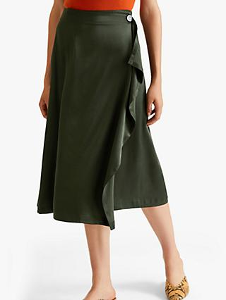 Jigsaw Satin Waterfall Midi Skirt, Khaki