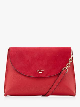 Dune Emzie Suede Curved Flap Pinched Bag, Red