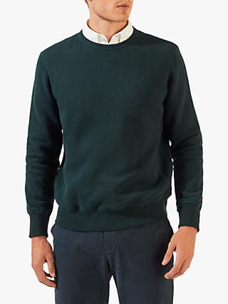 Jigsaw Christopher Cotton Crew Neck Sweatshirt, Emerald