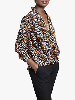 hush Atlas Animal Print Wrap Shirt, Neutral/Multi