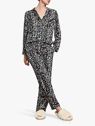 hush Piped Animal Printed Trousers, Camo Leopard