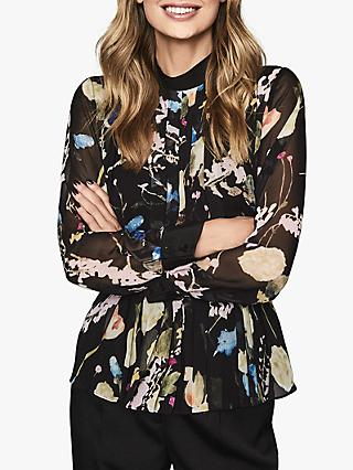 Reiss Kiri Romantic Floral Shirt, Black/Multi