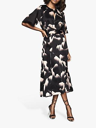 Reiss Arlo Glacier Print Half Sleeve Midi Dress, Black