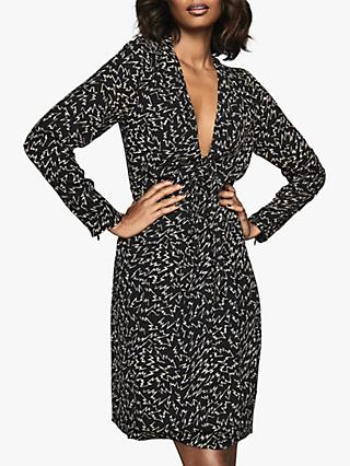 Reiss Julia Zig Zag Print Shift Dress, Black